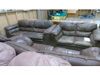 PRE OWNED DFS 3 Seater Sofa + 2 Seater Sofa in Vintage Brown Leather