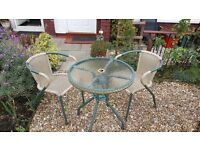 *USED* GLASS GARDEN TABLE WITH TWO CHAIRS