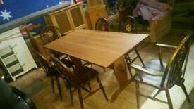 Farmhouse table 6 chairs carvers