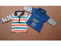 Pack of 2 Baby Boy long sleeves polo shirts size 3-6 months