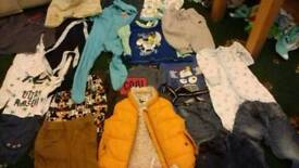 Baby boys clothes 9 to 12 months. 1 bin bag full, bungle,