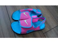 Girls Nike Sandals, pink and light blue, UK size 4.5