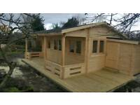 Log cabin , garden buildings installation