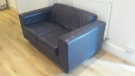 Blue leather 2-Seater Sofa