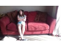 3 seater and two seater red sofas