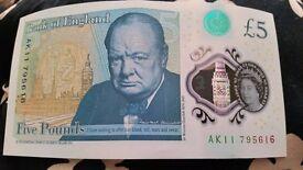 New five pound note AK11
