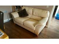 Leather sofa in cream/white