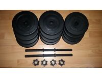 2 x 15 kg dumbells . Made of 8 x 2.5 kg plates and 4 x 2 kg plates