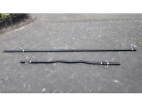 BLACK SOLID CAST IRON 6FT STRAIGHT & 4FT EZ CURL WEIGHTS BARBELL