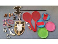 Kids Toys, Rackets, Catch & Ball Set, Frisbees, Axe, Shield, Dinosaurs + Others, Contact me asap, £3