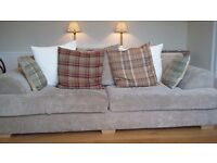 BEAUTIFUL 3/4 SEATER OXFORD BEIGE SPLIT BACK SOFA - STERLING FURNITURE - IN VERY GOOD CONDITION!