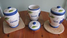 Matching Tea, Coffee and Sugar glazed pot containers