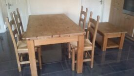 Solod oak wood dinning table set and coffee table