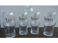 TETLEYS BREWERY PINT GLASSES (WHITE, GOLD & BROWN WRITING)
