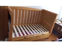Kiddiecouture pine sleigh cot bed