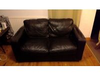 Two-seater Brown Leather Sofa - FREE