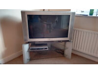 """SONY KV 36FS70 - 36"""" WEGA CRT TV - 100Hz - widescreen - Silver with recorder digibox and stand"""