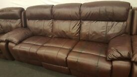 Real leather cherry black electric reclining 3+1 seater sofa