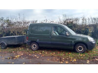 Citroen Berlingo Van with trailer. Perfect gardener's works van. Drives well. Needs work for MOT