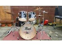 Pearl Session series drum kit with Zildjian cymbals and stool, better than Export