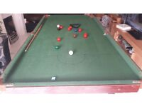 6 foot snooker table with balls and cue