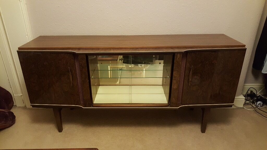 Vintage Tv Table With Revolving Hidden Bar.