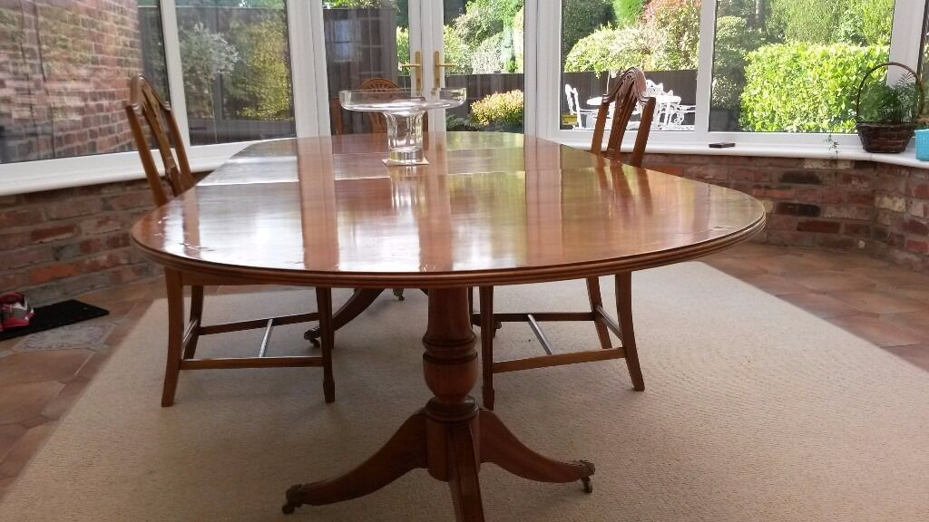 Yew Veneered Polished Dining Table With Solid Base And 6 Chairs. Bissett U0026  Brunton Of