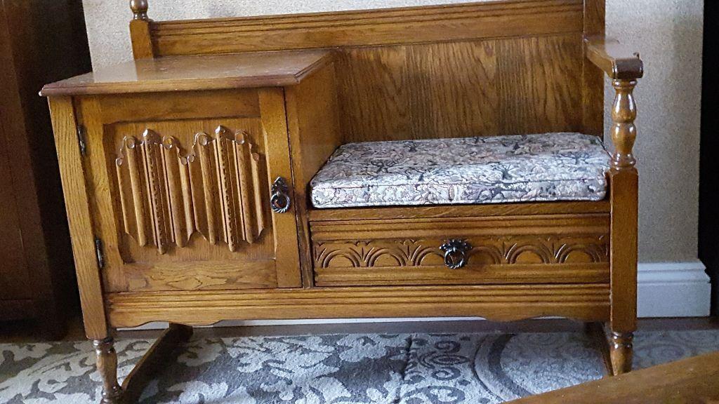 VINTAGE OAK OLD CHARM TELEPHONE TABLE/HALL SEAT