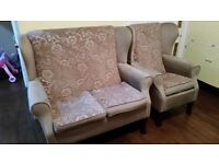 high back wing back settee and chair