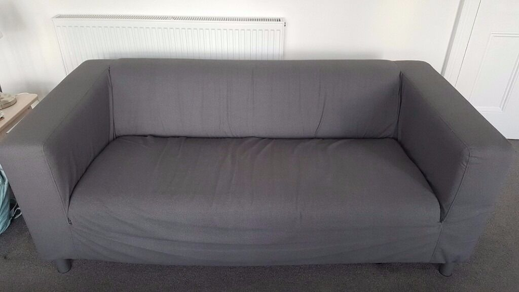 5 Month Old Ikea KLIPPAN Two Seater Sofa With Flackarp Grey Cover