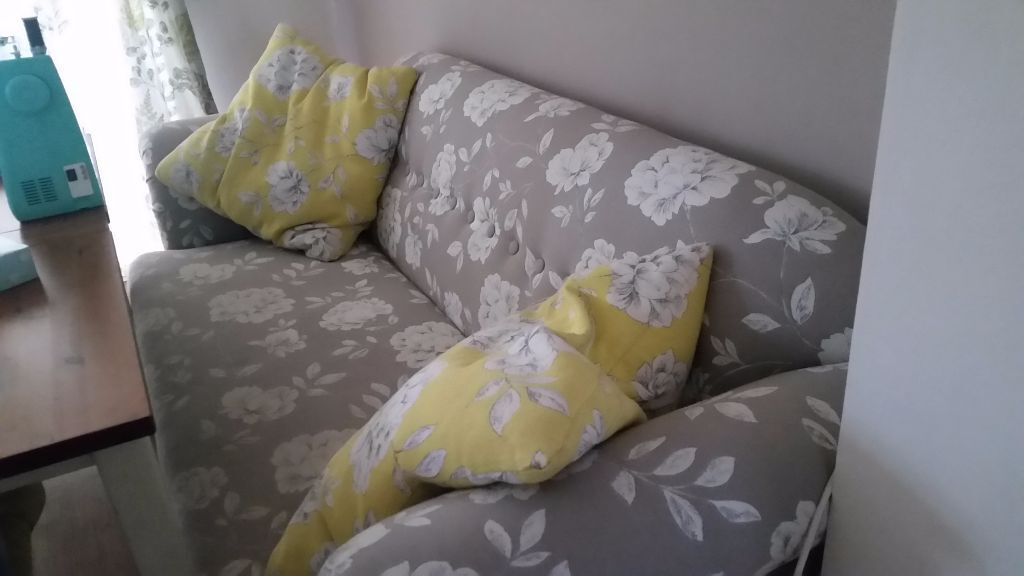 Grey And Yellow Floral Sofa DFS
