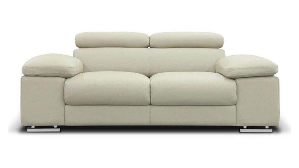 Nicoletti Lipari Italian Grey Leather 2 Seater Sofa   RRP £1329.99