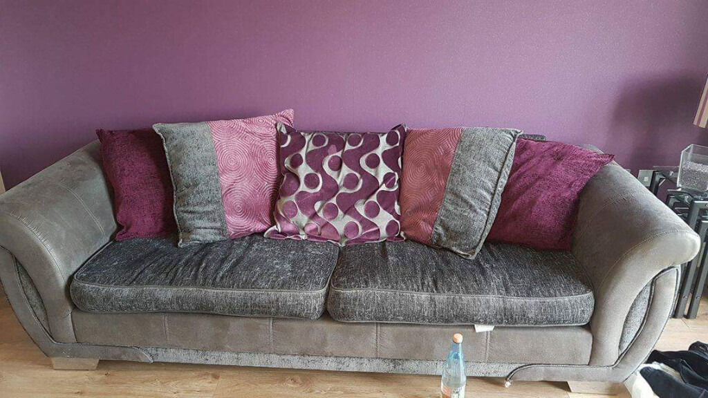 DFS U0027Shannonu0027 3 Seater Pillowback Grey And Purple Sofa With Chrome Feet.