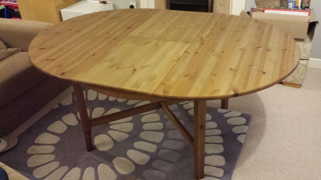 IKEA LEKSVIK Large Extending Round Dining Table   SOLID WOOD!