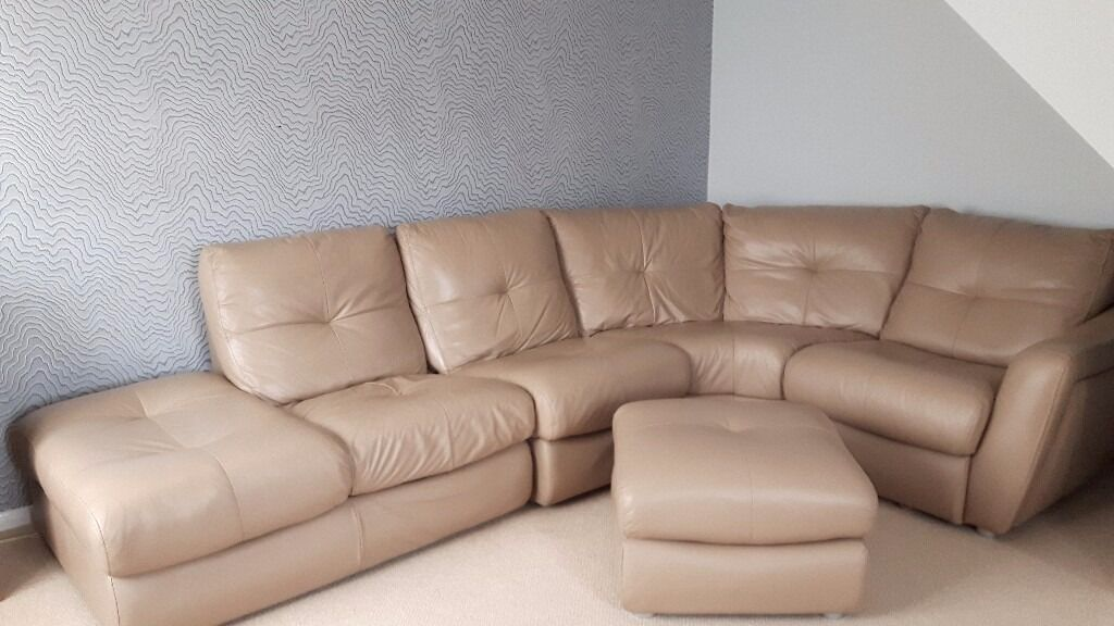 Soft Leather Caramel/Taupe Curved Corner Sofa , Fully Sprung , Very Good  Quality