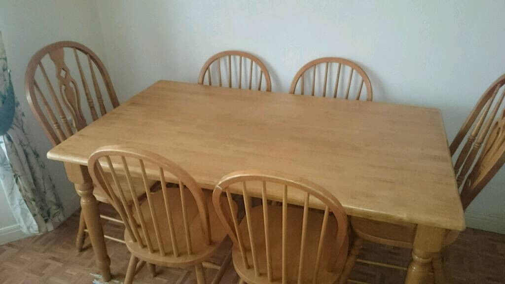Pine? Beech? Heavy Wood Dining Table And Six 6 Chairs Bargain @ £50
