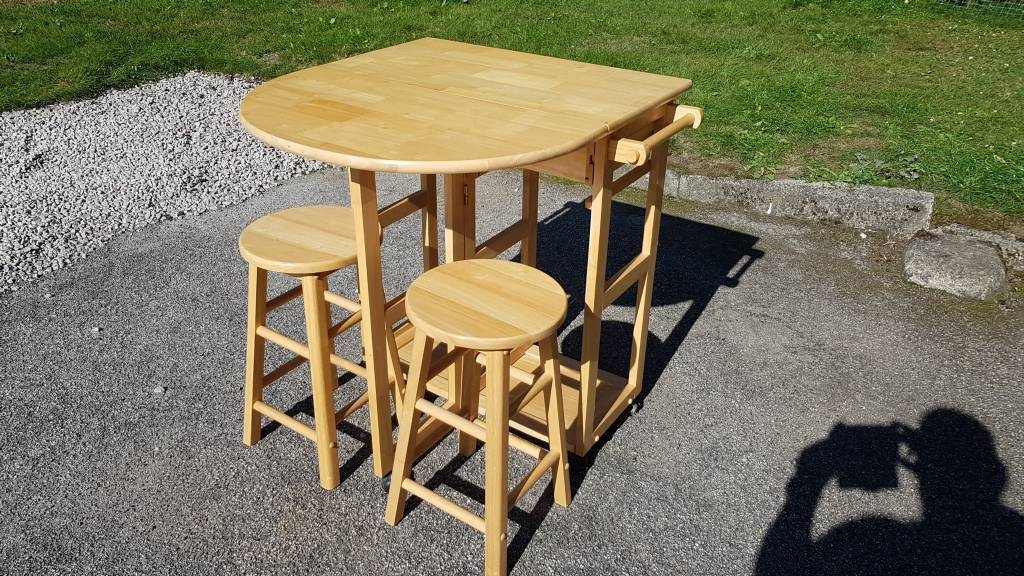 Pine Foldaway Table U0026 Stools / Workstation Spacesaver