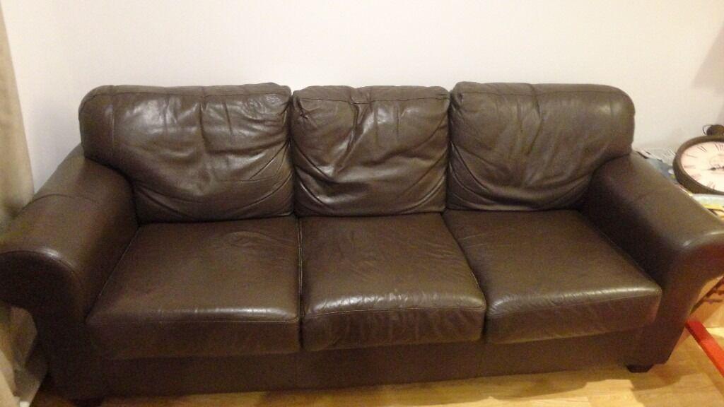 3 Seater IKEA ERKTOP Leather Sofa URGENT Brown Chocolate Colour