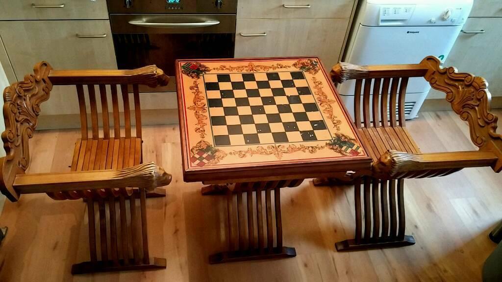 Superb Chess Table And Chairs. Savonarola Style. Lion Head Arms. Rare Item.