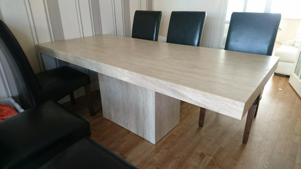 Travertine Stone Dining Table (with Or Without Matching Console Table And 2  Side Cubes)