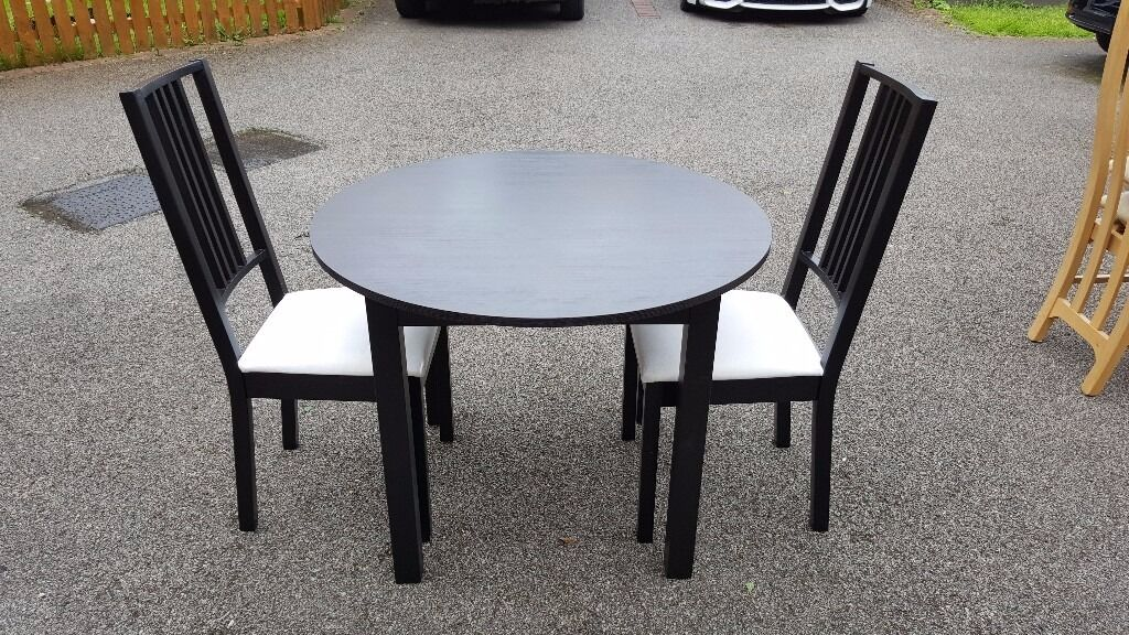 ikea black bjursnas round dining table u0026 2 black u0026 white borje chairs free delivery