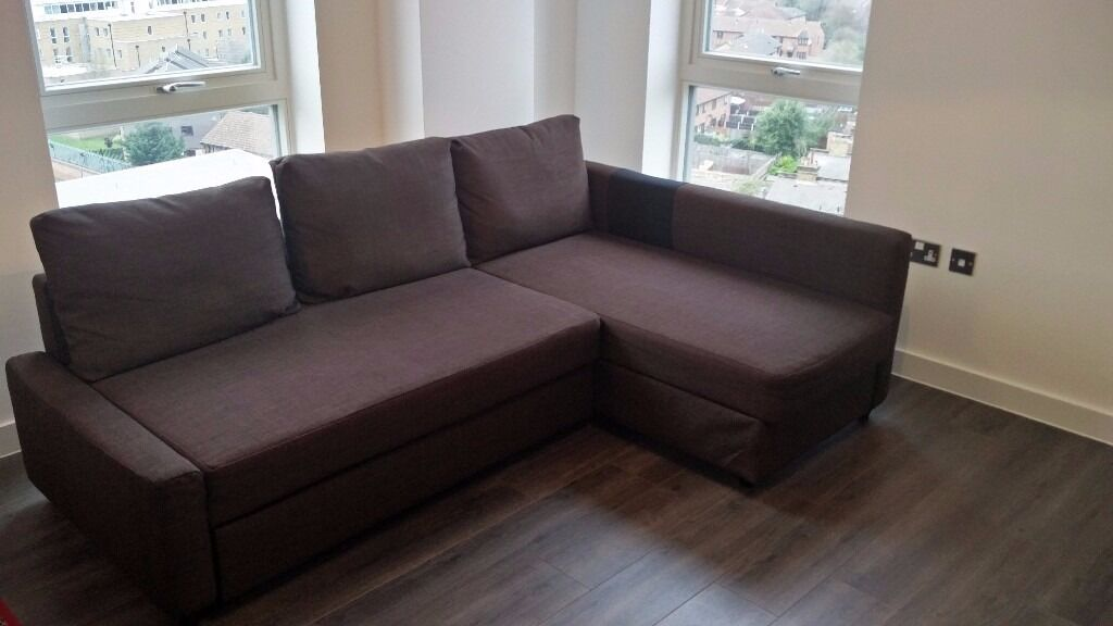 Attrayant IKEA FRIHETEN Corner Sofa, Chaise Longue And Double Bed In One With Storage  (Brown