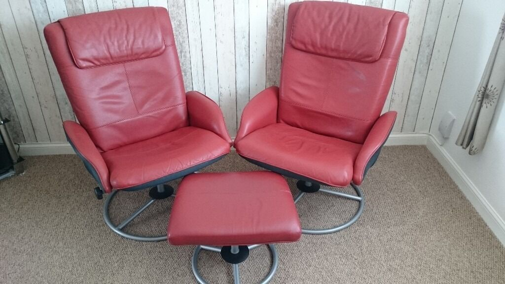 Superior IKEA Dark Red Leather Swivel U0026 Reclining Chairs With Footstool
