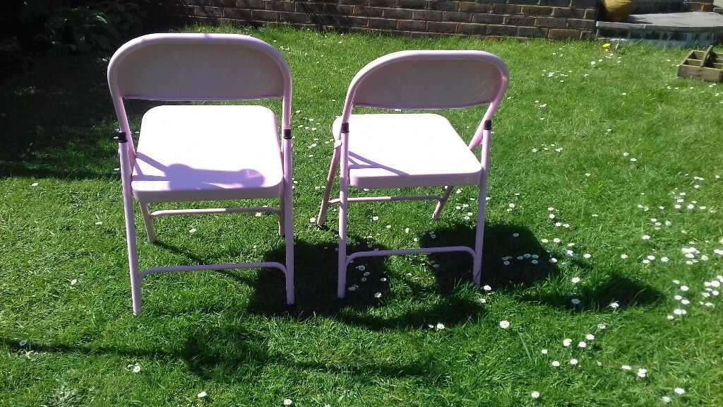 Pink Fold Up Chair #44 - Two As New Heavy Good Quality Baby Pink Fold Up Chairs