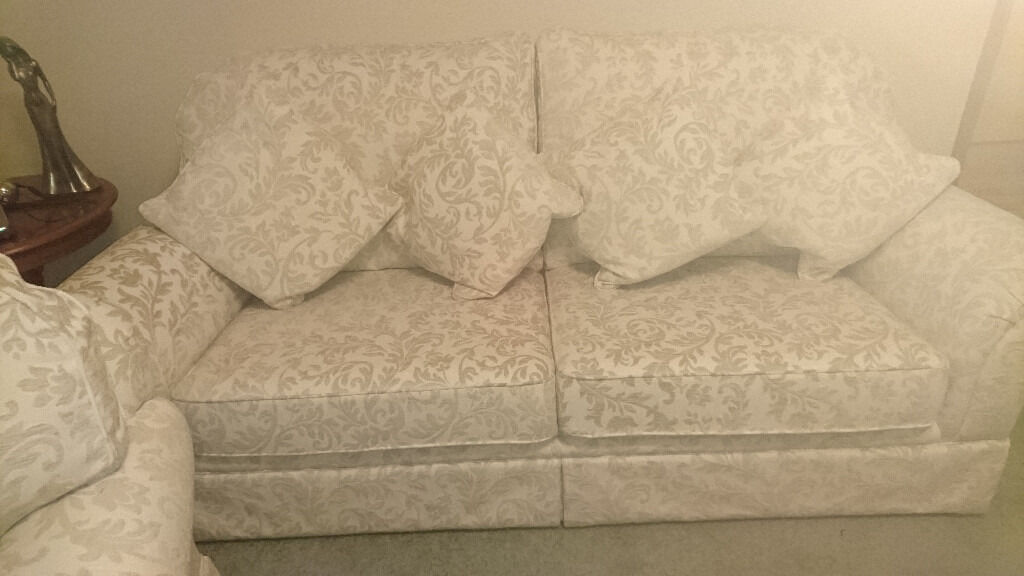 Merveilleux Cream Brocade 3 Piece Suite   3 Seater Sofa U0026 2 Chairs, Pristine Condition  When