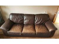 Ikea 3 Seather Brown Leather Sofa