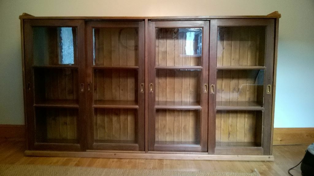 Fabulous very large antique pine glass fronted bookcase / display cabinet & Fabulous very large antique pine glass fronted bookcase / display ...