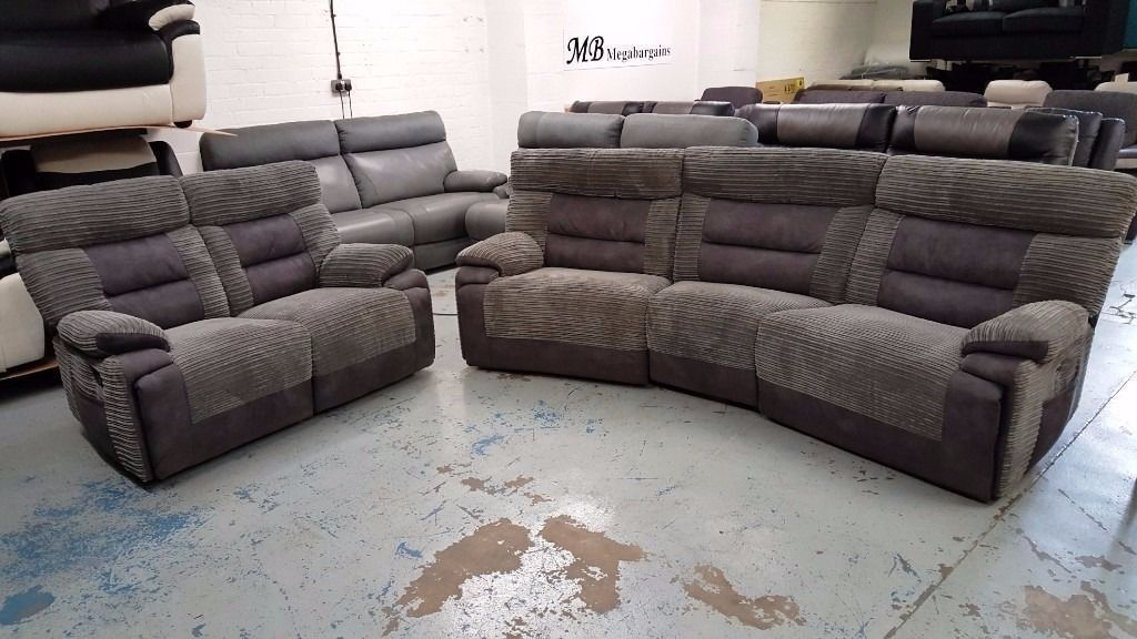 Ex Display SCS Curve Grey 4 Seater U0026 2 Seater Recliner Sofas Can/Del View