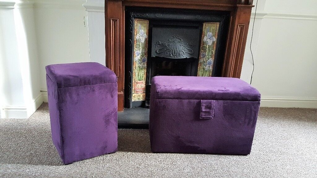 Pair Of Purple Ottoman Storage/seating Units And Matching Curtains