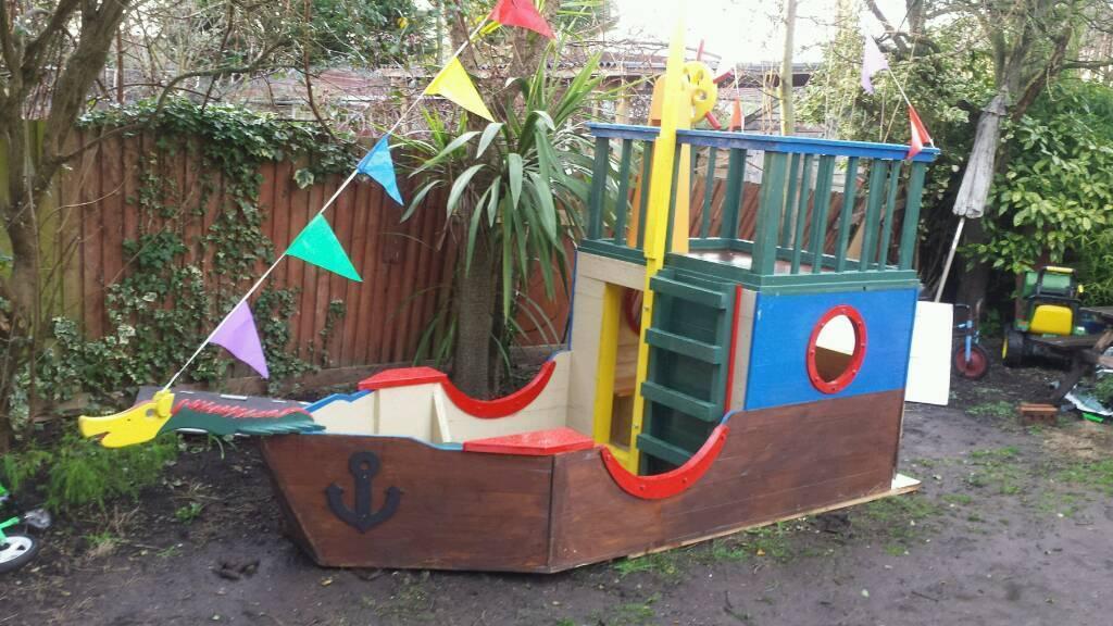Genial Wooden Pirate Ship Garden Playground